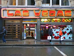 Las Vegas (steve marland) Tags: shopfront windows door sign signage neon streetphotography london uk urban england entertainment doorway rain wet typography letters words graphicdesign soho