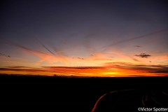 Sunset (Viictor B) Tags: sun sunset sunrise sunshine sonnenuntergang reflection road campagne country landcape sky blue red yellow mountain pyrenees car cloud nuages clouds
