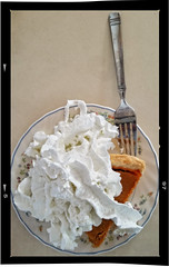 LEFTOVERS (akahawkeyefan) Tags: pumpkin pie whipped cream davemeyer kingsburg fork plate