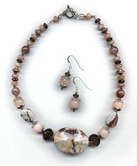 Earth series: Coral Sands (elizabatz.jensen) Tags: quartz stone semiprecious necklace earrings jewelry smokyquartz peachfeldspar picassojasper