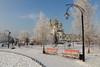 Preobrazhensky Park, Abakan, Russia (Fedor Odegov) Tags: preobrazhenskiy cathedral orthodox park winter abakan siberia russia snow tree bench silver