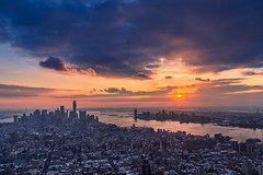 New York at Dusk (Wolfhowl) Tags: warm december goldenhour newyork landscape sunset snow clouds water manhattan city cityscape boats sky skyscrappers dusk us sun above urban unitedstates lowermanhattan travel 2017 newyorkcity panoramic architecture sea usa empirestatebuilding birdeye winter