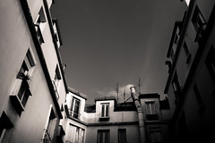 Untitled (LoKee Photo) Tags: lokee low key black white paris parisian building architecture structure light shadow city cityscape urban street fuji x100s