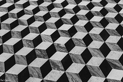 Mesmerizing (Thad Zajdowicz) Tags: pacificpalisades california usa zajdowicz thegettyvilla gettyinspired travel canon eos 5dmarkiii 5d3 dslr digital ef24105mmf4lisusm availablelight lightroom blackandwhite bw black white monochrome tile floor architecture mesmerizing shapes squares cubes escher abstract dizzy light dark shadow indoor inside pattern geometric repeating repetition angles lines art