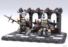 Grey Knights Terminators (Faber Mandragore) Tags: wip lego moc sci fi mecha powersuit warhammer 40000 space marine terminator grey knights brother inquisitor vignette wh40k