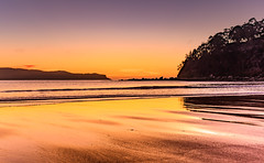 Dawn Seascape (Merrillie) Tags: daybreak uminabeach landscape nature australia mountains nswcentralcoast newsouthwales clouds nsw uminapoint beach scenery centralcoastnsw yellow coastal waterscape centralcoast seascape sunrise coast water sea
