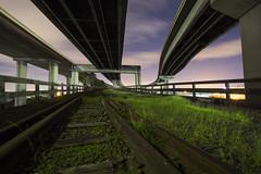 night tracks (eb78) Tags: ca california oakland npy nightphotography longexposure ue urbex urbanexploration railroad traintracks abandoned decay eastbay
