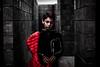 Le manteau rouge (PaxaMik) Tags: portrait rouge red redcoat noiretblanc noiretrouge lasucrière murs wall mélancolie melancholy textures musée black blackandwhitephotos