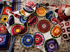 MAGNOLIA MANDALA BLANKET - JAYG PROCESS (Patchwork Daily Desire) Tags: patchworkdailydesire manadala crafts crochet cozy coffee blanket jayg hobby hook handmade yarn yellow rose red purple blue circle diamonds math