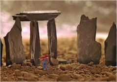 "Standing Stone (jesse1dog) Tags: macromondays ""stonerhymingzone standingstone slate buildersmix rubble man shovel overalls gm1 industar61 bokah extensiontube stonerhymingzone tabletop macro"