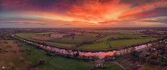 River runs red... (Kerriemeister) Tags: panorama panoramic river ouse fields landscape red redsky clouds cloudscape drone mavicpro aerial fulford york sunset boats afterglow