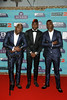 Manchester United's Paul Pogba (C) and his brothers Florentin Pogba (L) and Mathias Pogba (R) attend the MTV EMAs 2017 held at The SSE Arena, Wembley on November 12, 2017 in London, England. (Photo by Andreas Rentz/Getty Images for MTV)