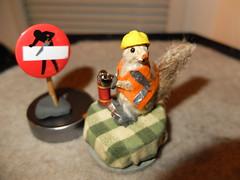 mini squirrel construction woker. (Shabnam_J) Tags: coffee break miniatures squirrel dollhouse cute clayart miniature animal cuteanimal miniaturesquirrel constructionsquirrel
