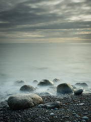 Serenity (Fun@365) Tags: sea waves pebbles beach rocks landscape landscapephotography coast leefilters longexposure blackandwhite sunset light dark olympusuk
