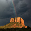 Courthouse Rainbow (David Colombo Photography) Tags: sedona sunset courthousebutte rainbow color monsoon clouds rock mountain light vibrant beautiful arizona desert nikon d800 davidcolombo davidcolombophotography outdoor landscape