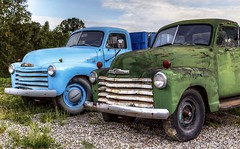 Twins (Paul Rioux) Tags: transportation truck vehicle two pair generalmotors chevrolet chev chevy old vintage classic decay decayed decaying delapidated patina blue green chilliwack prioux