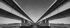 Pont de la Concorde - Montreal, Quebec #Canada150 (Richard Adams Photography) Tags: blackandwhite bw bridge water waterway waterfront montreal quebec concordia pontdelaconcorde panorama monochrome architecture road lines stars evening