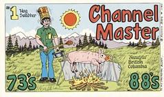 Runnin Bare #1140: Channel Master - British Columbia (73sand88s by Cardboard America) Tags: vintage runninbare qsl cbradio cb qslcard fire food pig britishcolumbia