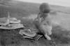 CurlyNegatives0307.jpg (The Digital Shoebox) Tags: monochrome negative snapshot watermellon scenic 35mm outdoors 1939 film outside picnic eating blackandwhite amateurphotographer girl