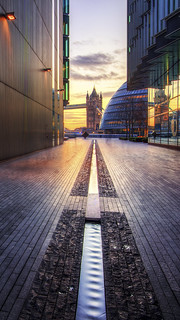 Path to Tower Bridge and City Hall, South Bank, London, England