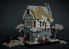 Winter cottage - side view (adde51) Tags: adde51 lego moc winter cottage midieval stone roof technique rooftechnique snow tree christmas foitsop village old white tan lbg