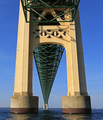 Under the Mighty mac (GLC 392) Tags: mackinaw mackinac ugly annie boat tour north tower straights mighty mac bridge michigan st saint ignace water clear sky up under pure life
