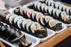 Plates of sushi rolls. Close up (wuestenigel) Tags: avocado sauce fish roll background philadelphia hot rolls rice assortment black meal soy traditional stone seafood tuna cucumber restaurant sushi seaweed food colorful salmon design bright set fresh delicious shrimp menu decoration nigiri japan japanese meeresfrüchte fisch seetang reis lachs lebensmittel thunfisch garnele sashimi wasabi eel aal maki noperson keineperson crab krabbe nori möchte rollen traditionell köstlich dinner abendessen