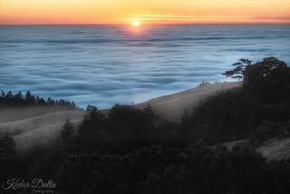 Sunset over the fog