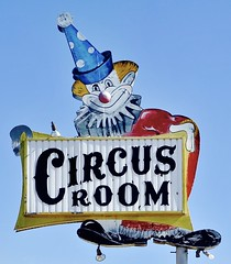 Circus Room - Amarillo,Texas (Rob Sneed) Tags: usa texas amarillo urban niteclub bar grill pool music sw6thstreet entertainment circusclub liquor texaspanhandle urbex advertisement clown americana pub restaurant liveentertainment lounge booze food cocktaillounge roadtrip clownshoes clownnose downtown