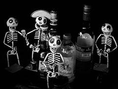Día de Muertos altar. (Eric@focus) Tags: dayofthedead mexico antwerp festivities figures mono beer tequila mezcal neroametà skeleton skull death doden dead fiesta morts fête