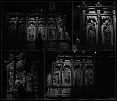 3 - Reims - Basilique Saint-Remi - Tombeau de Saint Rémi (melina1965) Tags: reims marne grandest octobre october 2017 nikon d80 mosaïque mosaïques mosaic mosaics collages collage noiretblanc blackandwhite bw sculpture sculptures église églises church churches tombe tombes grave graves basreliefs basrelief