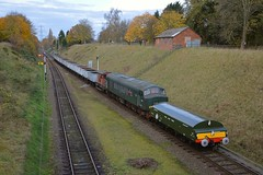 Diesel Loco D123 (45125) on a demonstration mineral train, complete wih newly created replica Brake Tender, approaches Rothley, with a service from Quorn. The Last Hurrah, Great Central Railway. 18 11 2017 (pnb511) Tags: thelasthurrah endofseasongala signal semaphore track loco locomotive trucks freight goods diesel brake tender
