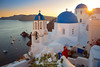 Oia's Famous Blue Domes (fesign) Tags: architecturalfeature bell belltower boat christianity church cross cycladesislands europe famousplace flowers greece greekculture island nauticalvessel oia outdoors placeofworship religion santorini sea spirituality sun sunset three travel water woman