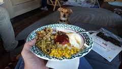 Chucky wants my Thanksgiving Dinner (rabidscottsman) Tags: scotthendersonphotography dog thanksgiving holiday thursday lunch begging turkey corn greenbeans stuffing dressing gravy cranberry cranberrysauce kingshawaiianroll food foodporn foodphotography plareoffood poultry samsung samsunggalaxys6 meal inmyhand animal pet