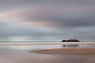Muted Sunset over Godrevy Lighthouse