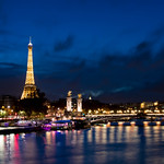 Paris - Eiffel Tower and Seine at Night thumbnail