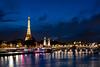 Paris - Eiffel Tower and Seine at Night (Daxis) Tags: autumn bluehour champselys champselysees christmas city eiffeltower europe france lights night noel paris reflection seine toureiffel