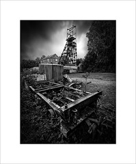 Industrial decay (tkimages2011) Tags: lancashire mining museum decay sky pithead rust winding gear outside landscape mono monochrome astley industrial machinery entropy iron metal drama