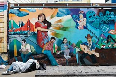 Unjust (thedailyjaw) Tags: art graffitiasart graft medium themediumisamessage message paint spraypaint spray colors vibrant x100f x100series xseries fuji fujifilm classicchrome homeless migrants immigrants unjust simplification rays exploitative themission mission mexican hispanic ice lamigra street