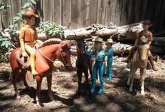 The West Kids and their Ponies (atjoe1972) Tags: marx johnnywest jay jamie josie janice pancho pony horse thundercolt cisco sid bucky west kids toys actionfigure cowboy hat boots vest 1960s 1970s seventies sixties retro vintage western frontier oldwest wildwest pioneer bestofthewest botw atjoe1972 circlexranch