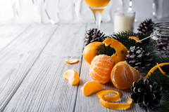 Tangerine and fir branches (lyule4ik) Tags: mandarin fruit orange christmas tangerine winter background citrus decor decoration holiday new sweet xmas year copy food rustic space celebration healthy fir fresh green happy merry wooden yellow card hand holding girl child boy branches closeup eating female home knitted lifestyle mandarine organic peeling preparing pullover ripe style time snow
