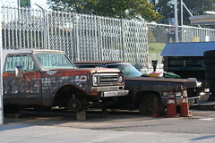 Clunkers in Greenwood (vetaturfumare - thanks for 2 MILLION views!!!) Tags: rust decay rot parked old junk skrot skrotbil cones trafficcone international internationalharvester ih scout scoutii orange speckled rusty wreck tired