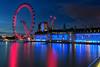 I've got my Eye on you (Pat Charles) Tags: london england unitedkingdom uk europe travel tourism nikon night evening dusk bluehour eye theeye londoneye thames river reflection reflected reflections longexposure