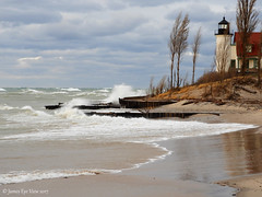 December Gales (JamesEyeViewPhotography) Tags: lake michigan pointbetsie lighthouse water waves greatlakes clouds winter sky trees wind december gale landscape northernmichigan nature drama lakemichigan jameseyeviewphotography