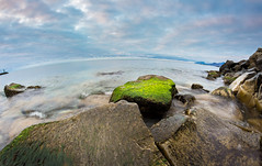 The Man, The Sea, The Mountain (mikhailkorzhalov) Tags: canon samyang samyang8mm fisheye fisheyelens 8mm f16 manual manuallenses manualfocus longexposure nature naturallight clouds cloudy sky sea seascape seascapes stone stones rocks water horizon horizont mountain mountains seaweed green blue