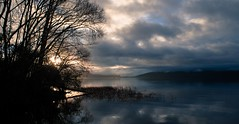 Lake Tarawera, Bay of Plenty, New Zealand (Gonzalo Aja) Tags: lake lago tarawera bay plenty bahia new zealand nueva zelanda north island isla norte water agua trees arboles mountains montañas sky cielo clouds nubes cloudy nuboso reflections reflejos shadows sombras light luz silhouette silueta austral winter invierno scenic landscpae paisaje escena outdoor aire libre nature naturaleza d5000 sunrise dawn amanecer