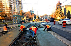 The city of Toronto at work   ( 1 of 2) (Trinimusic2008 - stay blessed) Tags: trinimusic2008 judymeikle urban today light construction workmen streetcartracks infrastructure november 2017 fall walk road toronto to ontario canada