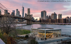 Empire Stores Sunset Pano (20171126-DSC03788-Pano-3-Edit) (Michael.Lee.Pics.NYC) Tags: newyork empirestores empirefultonferry brooklynbridge brooklynbridgepark eastriver janescarousel lowermanhattan worldtradecenter wtc onewtc architecture cityscape sunset panorama aerial a7rm2 zeissloxia50mmf2