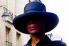 Street - The mysterious woman (François Escriva) Tags: street streetphotography paris france colors candid people olympus omd hat photo rue blue red black white brown lips pink sun light beautiful face pretty class smart posh
