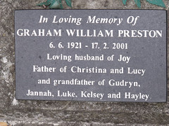 Headstone - Graham William Preston